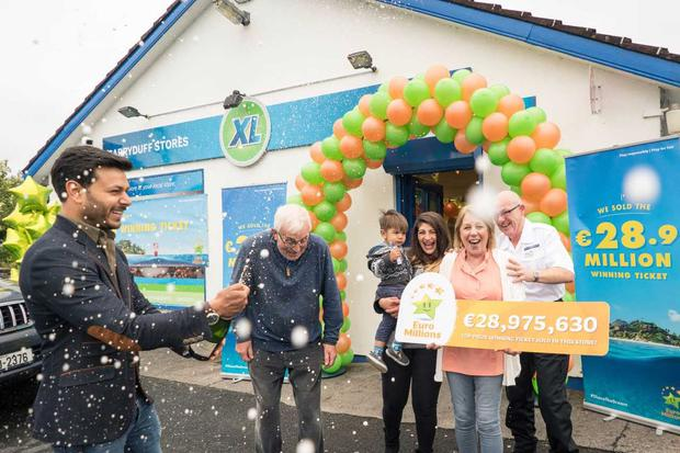 Shop owner Umesh Kumar celebrates selling the 29m Euromillions winning ticket at Garryduff Stores, Pound Road, Castlebar (Photo: Keith Heneghan)