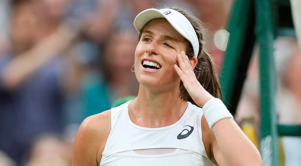 Great Britain's Johanna Konta celebrates winning the quarter final match against Romania's Simona Halep. REUTERS/Matthew Childs