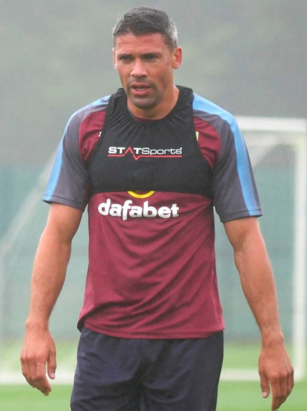Jonathan Walters training yesterday with Burnley in Carton House, Maynooth.