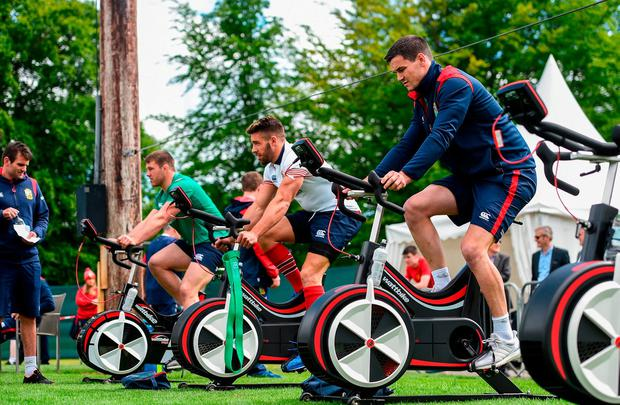 Jonathan Sexton of British and Irish Lions alongside team-mates Sean O'Brien, left, and Rhys Webb during squad training at Carton House in Maynooth, Co Kildare. Photo: SPORTSFILE