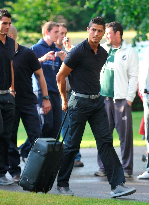 Real Madrid's Christiano Ronaldo arrives at Carton House in Maynooth. Photo: Damien Eagers