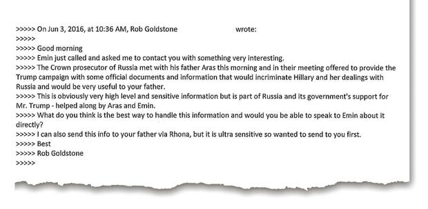 Part of an email conversation between Donald Trump Jr and publicist Rob Goldstone in a Twitter message posted by the US president's son yesterday. Photo: Reuters