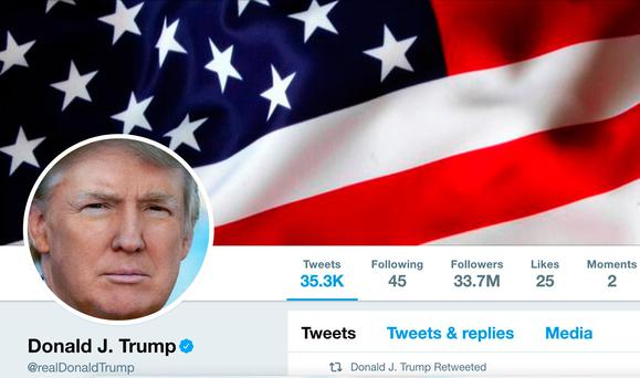 Masthead of US president Donald Trump's @realDonaldTrump Twitter account: 'an important source of government information'. Photo: Reuters