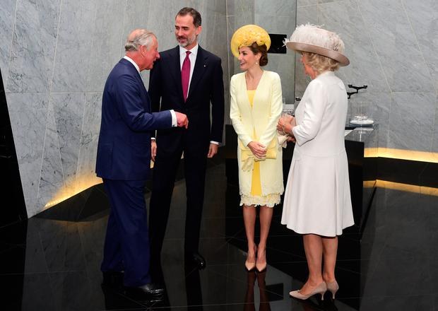 The Prince of Wales and the Duchess of Cornwall greet King Felipe VI and Letizia of Spain at his hotel in central London at the start of the King's State Visit to the UK. Photo credit: Hannah McKay/PA Wire