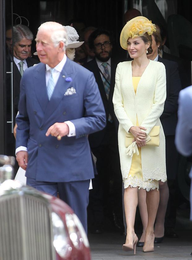 Prince Charles, Prince of Wales, Camilla, Duchess of Cornwall and Queen Letizia of Spain is seen leaving the ME Hotel during there state visit to the United Kingdom on July 12, 2017 in London, England. (Photo by DMC/GC Images)