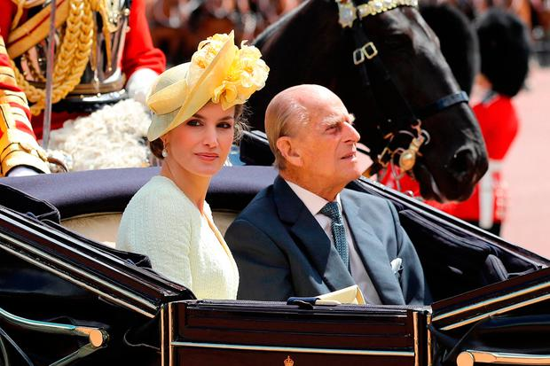 Queen Letizia of Spain and Prince Philip, Duke of Edinburgh ride in a carriage during a State visit by the King and Queen of Spain at Centre Gate, Buckingham Palace on July 12, 2017 in London, England