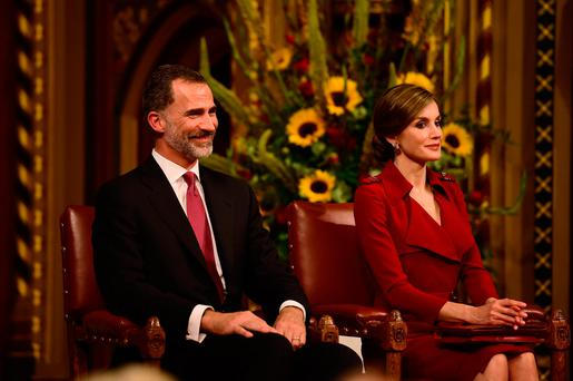 Spain's King Felipe and Queen Letizia take a seat at the Palace of Westminster in London, Britain July 12, 2017. REUTERS/Hannah McKay
