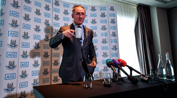 Dublin boss Jim Gavin starts yesterday's press conference with a cup of tea at the Gibson Hotel. Photo by Seb Daly/Sportsfile