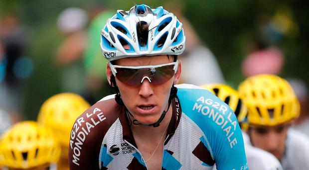 Romain Bardet hit the deck along with most of his Ag2r La Mondiale team-mates. Photo: Reuters/Benoit Tessier