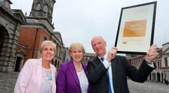 Arts Minister Heather Humphreys with curator Savina Donohoe and CEO Tommy Ryan, of Cavan County Museum, which yesterday received its accreditation as part of the Museum Standards Programme for Ireland. Photo: Gary O'Neill
