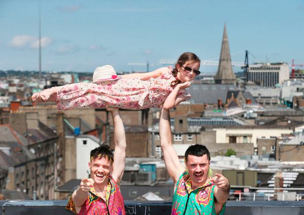 Cadhla McAnally with Lords of Strut Cian Kinsella and Cormac Mohally, who will perform at this year's Dublin Fringe Festival. Photo: Leon Farrell/Photocall Ireland