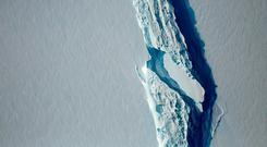 An image obtained from Nasa showing the Antarctic Peninsula's rift in the Larsen C ice shelf. Photo: AFP/Getty Images