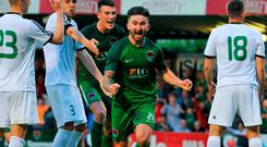 Sean Maguire celebrates after scoring Cork City's fourth goal during the Europa League clash with Levadia Tallinn at Turners Cross last Thursday. Photo by Doug Minihane/Sportsfile