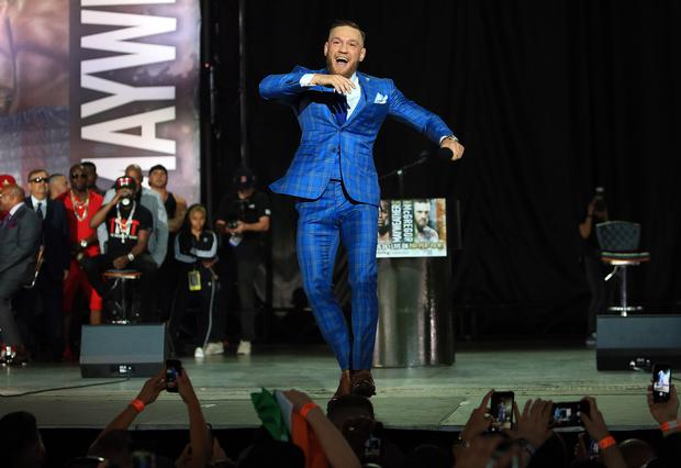 TORONTO, ON - JULY 12: Conor McGregor speaks during the Floyd Mayweather Jr. v Conor McGregor World Press Tour at Budweiser Stage on July 12, 2017 in Toronto, Canada. (Photo by Vaughn Ridley/Getty Images)