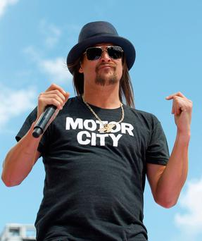 Kid Rock performs before the Daytona 500 NASCAR Sprint Cup series