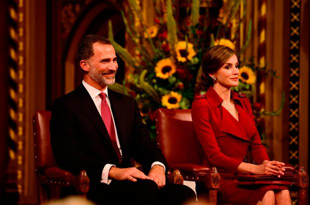 King Felipe VI of Spain and Queen Letizia of Spain visit the Palace of Westminster on July 12, 2017 in London, England