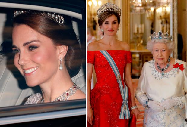 Kate Middleton, left, Queen Letizia of Spain and Queen Elizabeth of Britain, right at Buckingham Palace