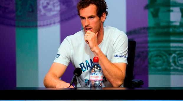 Andy Murray during a press conference after losing to Sam Querrey