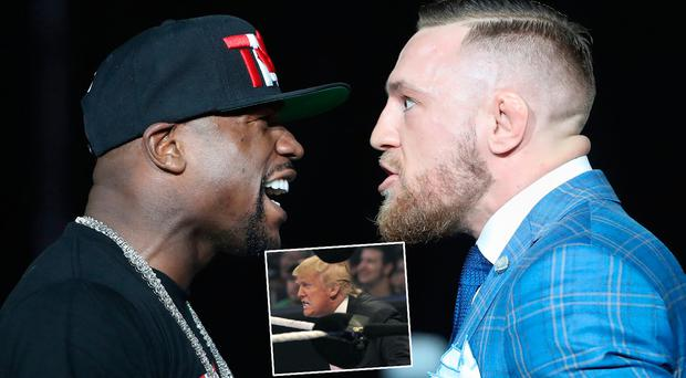 Mayweather and McGregor face off and (inset) Donald Trump