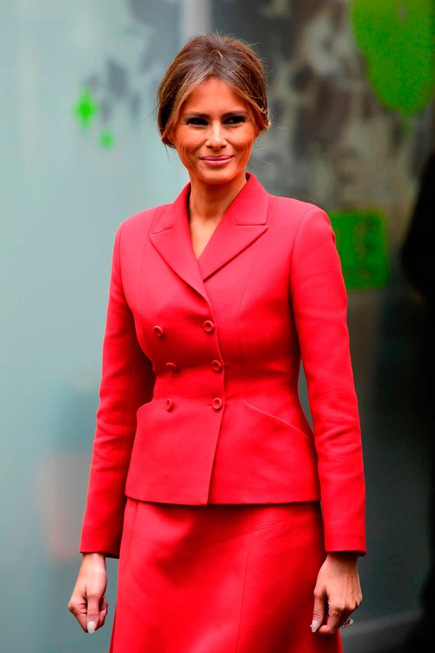 US First Lady Melania Trump smiles during a visit to the Necker Hospital in Paris, on July 13, 2017