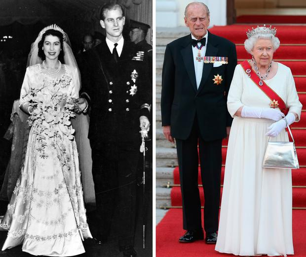 Britain's Queen Elizabeth and Prince Philip on their wedding day in 1947, left, and in 2014, right