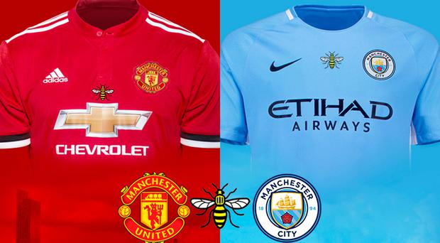 Handout photo provided by Manchester City Football Club of the worker bee shirts that Manchester City and Manchester United players will wear for next week's Derby match in Houston.