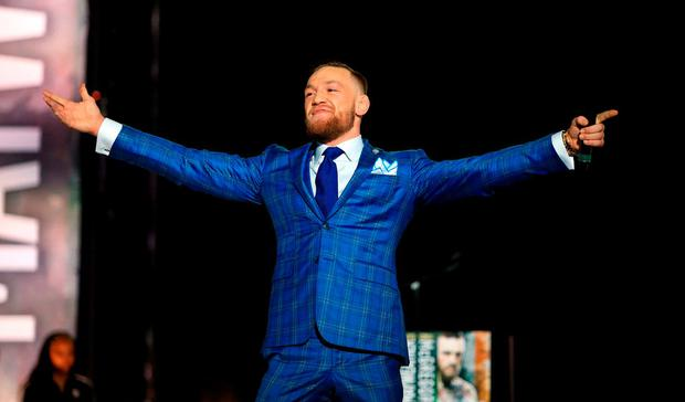 Conor McGregor speaks during the Floyd Mayweather Jr. v Conor McGregor World Press Tour at Budweiser Stage on July 12, 2017 in Toronto, Canada. (Photo by Vaughn Ridley/Getty Images)