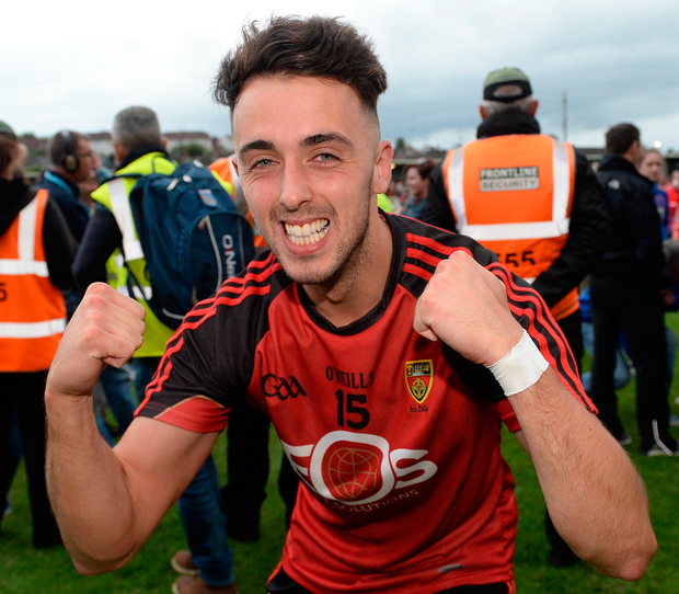 Down's Ryan Johnston celebrates after the Mourne County's Ulster semi-final win over Monaghan. Photo: Sportsfile