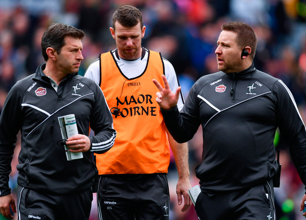 Kildare selectors Enda Murphy and Ronan Sweeney with Lilywhite manager Cian O'Neill. Photo: Sportsfile