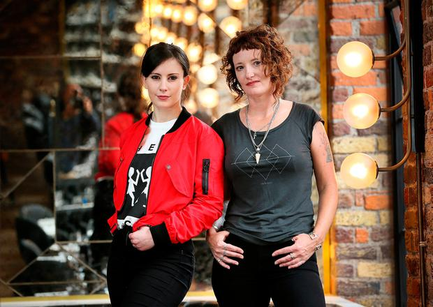 Women go vinyl: DJs Cailin Power and Aoife Nic Canna pictured at Roberta's on Dublin's Essex St East. Photo: Frank McGrath