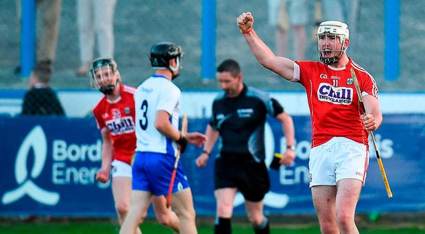 Declan Dalton of Cork celebrates after scoring his side's second goal of the game during the Bord Gais Energy Munster GAA Hurling Under 21 Championship Semi-Final match between Waterford and Cork at Walsh Park in Waterford. Photo by Seb Daly/Sportsfile