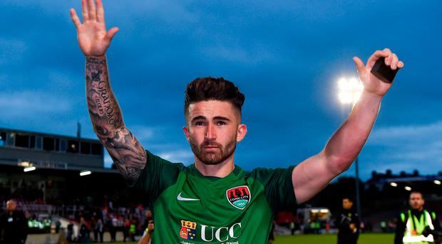 Sean Maguire of Cork City acknowledges the supporters after his last home game for the club after the UEFA Europa League Second Qualifying Round First Leg match between Cork City and AEK Larnaca at Turner's Cross in Cork. Photo by Eóin Noonan/Sportsfile