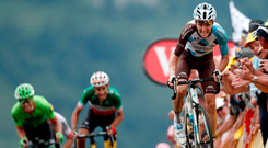 Romain Bardet digs deep on his way to claiming stage glory. Photo: Reuters