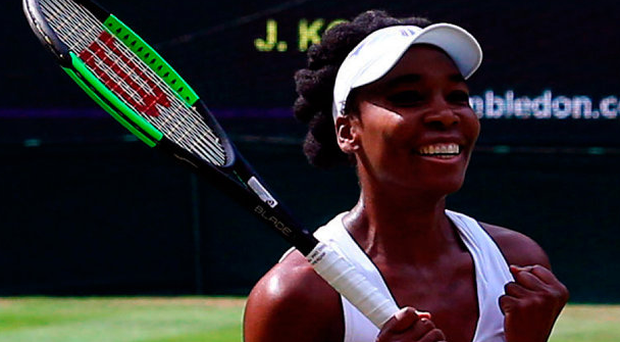 Venus Williams celebrates beating Johanna Konta on day ten of the Wimbledon Championships. Photo: PA