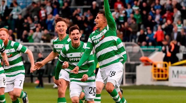 Graham Burke celebrates after scoring the first of his two goals for Shamrock Rovers at Tallaght Stadium against Mlada Boleslav in the first leg
