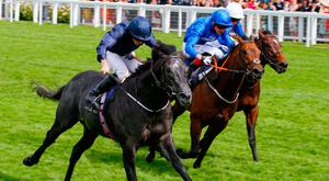 Caravaggio, with Ryan Moore up (l), wins from Harry Angel with Adam Kirby up and Blue Point with William Buick up at the The Commonwealth Cup at Royal Ascot. Photo: Cranhamphoto.com