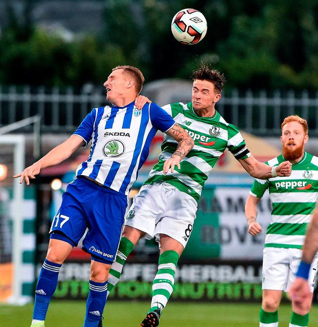 Shamrock Rovers' Ronan Finn in action against Mlada Boleslav's Petr Mares. Photo by David Maher/Sportsfile