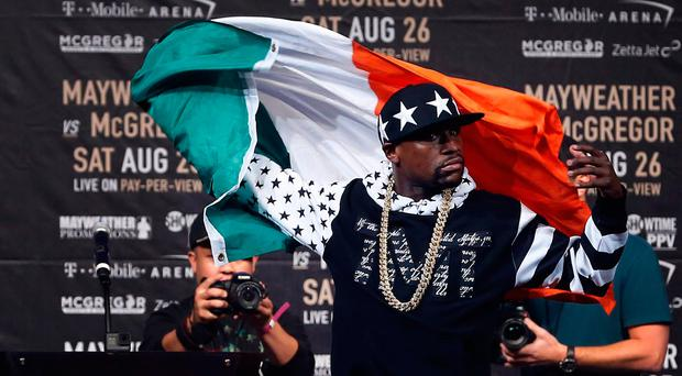 Floyd Mayweather during a world tour press conference to promote the upcoming Mayweather vs McGregor boxing fight at Barclays Center. Noah K. Murray-USA TODAY Sports