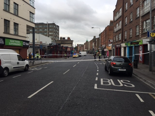 The scene at Cumberland Street north this morning. Photo: Conor Feehan