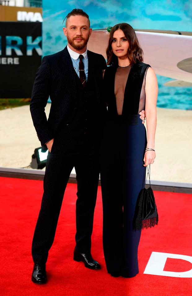 Tom Hardy and Charlotte Riley attend the world premiere of Dunkirk at the Odeon Leicester Square in London. PRESS ASSOCIATION Photo. Picture date: Thursday July 13, 2017. See PA story SHOWBIZ Dunkirk. Photo credit should read: Lauren Hurley/PA Wire