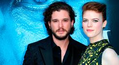 Actors Kit Harington and Rose Leslie attend the premiere of HBO's