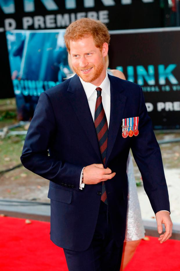 Prince Harry arrives at the 'Dunkirk' World Premiere at Odeon Leicester Square on July 13, 2017 in London, England. (Photo by Tristan Fewings/Getty Images)