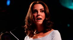 The Duchess of Cambridge makes a speech during the reopening of Hintze Hall at the Natural History Museum in London