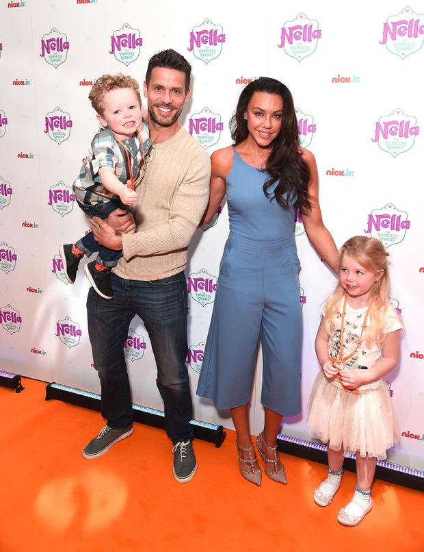 Michelle Heaton with her husband Hugh Hanley and children Aaron and Faith Michelle