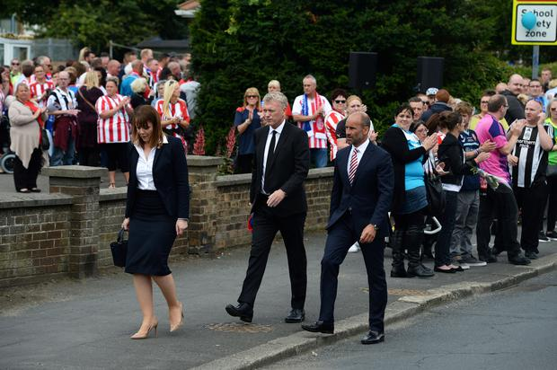 David Moyes departs St Joseph's Church after the funeral service of Bradley Lowery