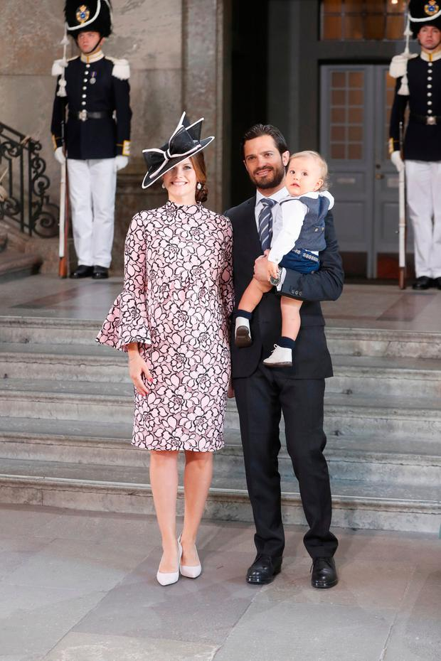 Prince Carl Philip of Sweden, Prince Alexander of Sweden and Princess Sofia of Sweden arrive for a thanksgiving service on the occasion of The Crown Princess Victoria of Sweden's 40th birthday celebrations at the Royal Palace on July 14, 2017 in Stockholm, Sweden
