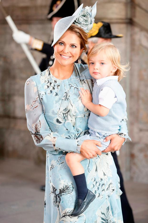 Princess Madeleine of Sweden and Prince Nicolas of Sweden arrive for a thanksgiving service on the occasion of The Crown Princess Victoria of Sweden's 40th birthday celebrations at the Royal Palace on July 14, 2017 in Stockholm, Sweden