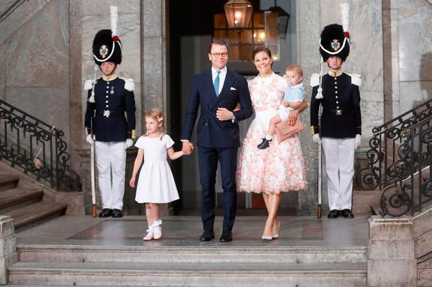 Crown Princess Victoria of Sweden, Prince Oscar of Sweden, Princess Estelle of Sweden and Prince Daniel of Sweden depart after a thanksgiving service on the occasion of The Crown Princess Victoria of Sweden's 40th birthday celebrations at the Royal Palace on July 14, 2017 in Stockholm, Sweden