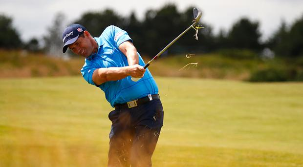 TROON, SCOTLAND - JULY 14: Padraig Harrington of Ireland hits his second shot on the 9th hole during day two of the AAM Scottish Open at Dundonald Links Golf Course on July 14, 2017 in Troon, Scotland. (Photo by Gregory Shamus/Getty Images)
