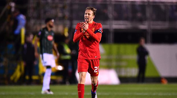 PLYMOUTH, ENGLAND - JANUARY 18: Lucas Leiva of Liverpool celebrates scoring the opening goal during The Emirates FA Cup Third Round Replay match between Plymouth Argyle and Liverpool at Home Park on January 18, 2017 in Plymouth, England. (Photo by Dan Mullan/Getty Images)